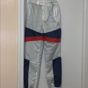 White,blue & red active joggers